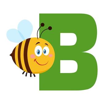 Abeille de personnage de dessin animé mignon abeille survolant la lettre b. illustration plat isolé