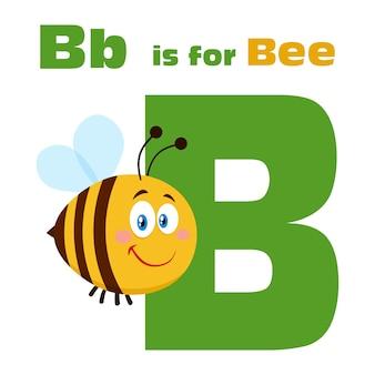 Abeille personnage de dessin animé survolant la lettre b et le texte. illustration plat isolé