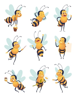 Abeille. personnage de dessin animé volant insecte nature dans différentes poses mascotte de vecteur d'abeille de livraison. insecte abeille volante, mascotte pose illustration de l'apiculture