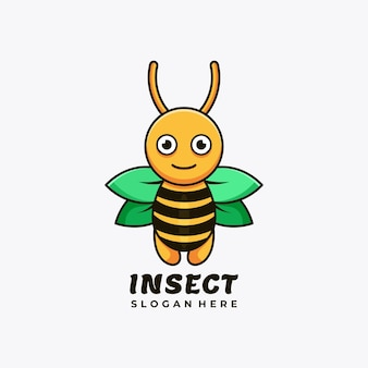Abeille personnage mascotte logo design illustration vectorielle
