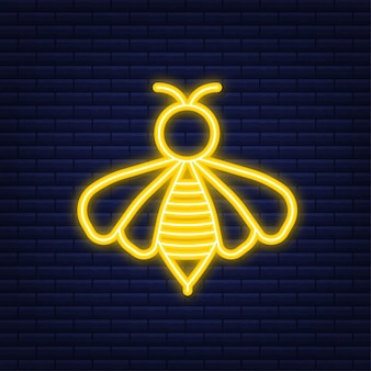 Abeille volante de miel. icône de l'abeille. style néon. illustration vectorielle.