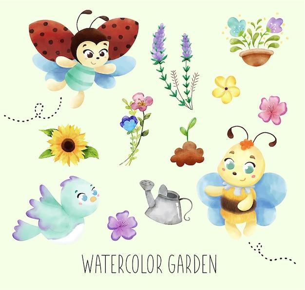 Abeilles, fleurs et éléments de jardin aquarelle