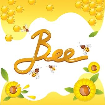 Abeilles à miel fleurs jaunes