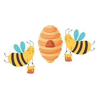 Les abeilles ouvrières livrent du miel à la ruche. les bourdons rentrent chez eux en ramassant des seaux de miel. animal drôle de caractère. illustration vectorielle