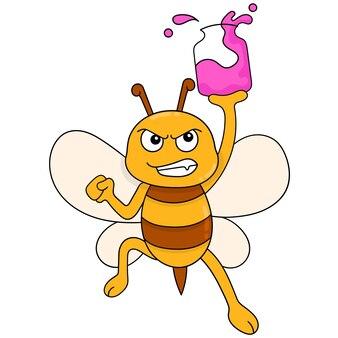 Abeilles volantes portant une bouteille de miel jaune, art d'illustration vectorielle. doodle icône image kawaii.