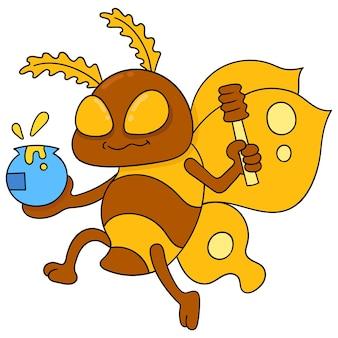 Abeilles volantes portant des pots de miel, art d'illustration vectorielle. doodle icône image kawaii.