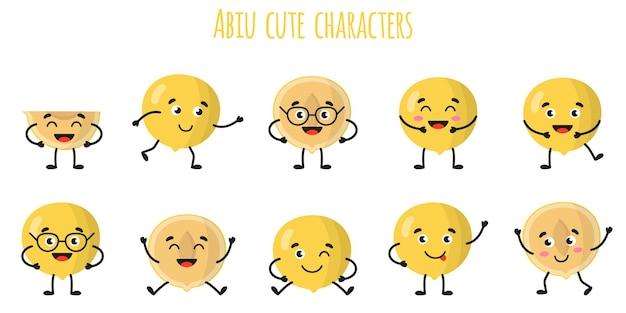 Abiu fruits mignons personnages gais drôles avec différentes poses et émotions. collection de nourriture de désintoxication antioxydante de vitamine naturelle. illustration isolée de dessin animé.