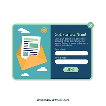 Abonnement pop up template avec un design plat