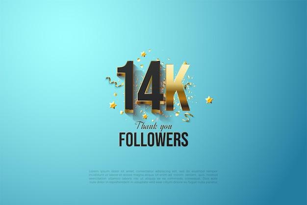 Abonnés 14k avec des chiffres plaqués or audacieux