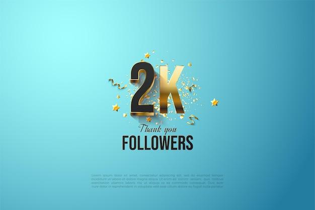Abonnés 2k avec couche de nombres en or massif