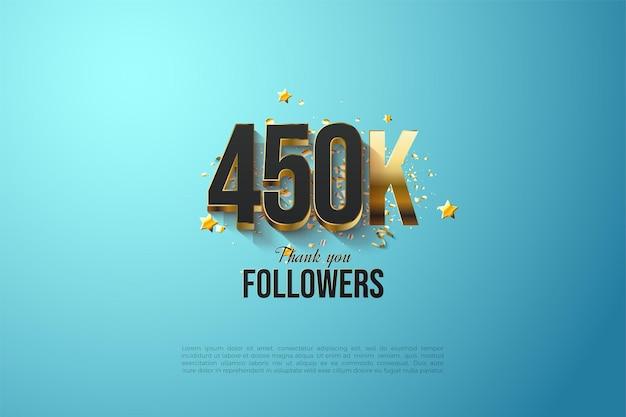 Abonnés 450k avec des numéros plaqués or