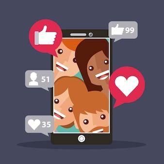 Les abonnés à un téléphone mobile affichent un contenu avec j'aime