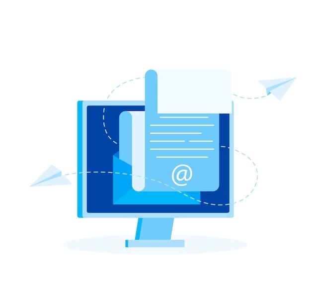 Abonnez-vous au concept de newsletter. message ouvert avec le document.