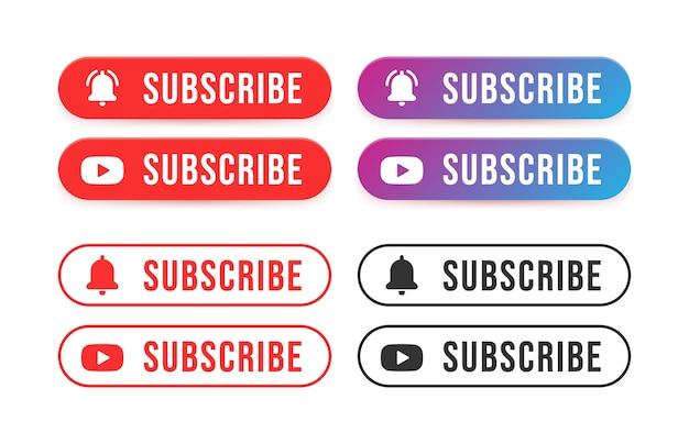 Abonnez-vous aux boutons. libellé abonnez-vous à la chaîne vidéo du site web.