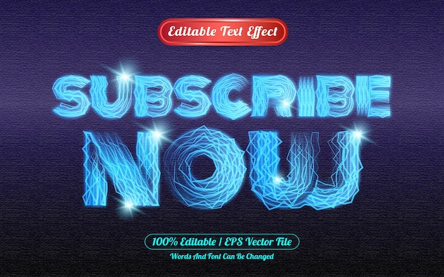 Abonnez-vous maintenant effet de texte modifiable sur le thème de la lumière