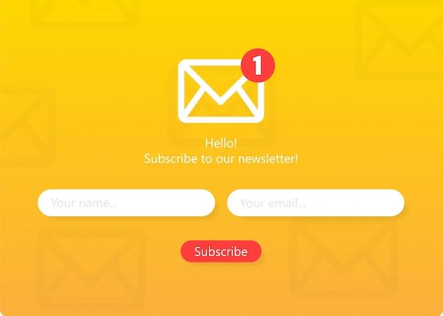 Abonnez-vous à notre formulaire de newsletter formulaire d'inscription avec enveloppe email sign