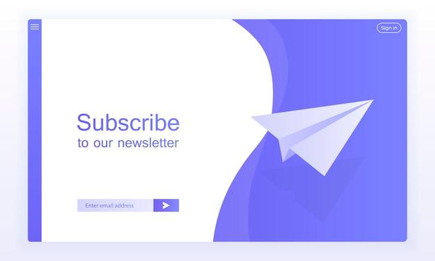 Abonnez-vous par e-mail, modèle de vecteur de newsletter en ligne avec avion et bouton de soumission pour le site web.
