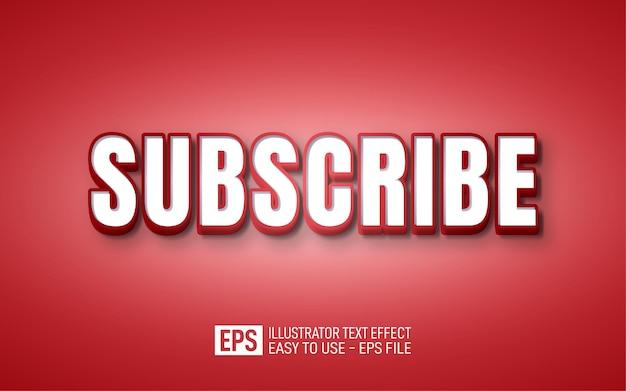 Abonnez-vous, style de bande dessinée blanc effet de texte modifiable 3d dégradé rouge