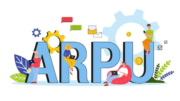 Abréviation arpu. revenu moyen par concept d'utilisateur