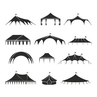 Abri extérieur tente, icônes vectorielles des tentes pavillon événement