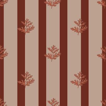 Absinthe de modèle sans couture sur fond marron à rayures. bel ornement végétal. modèle de texture géométrique pour le tissu.