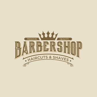 Abstrack barbershop élégant modèle de conception de logo vintage