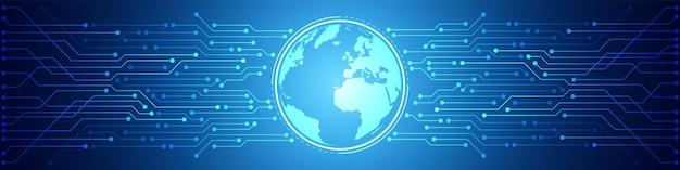 Abstract digital global technology background, motif de circuit imprimé bleu, puce électronique, ligne électrique