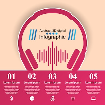Abstract illustration numérique 3d infographique. icône de la musique.
