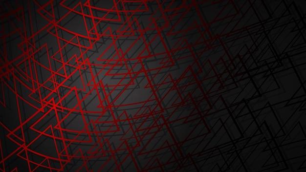 Abstract illustration de triangles sécants rouge foncé avec des ombres sur fond noir