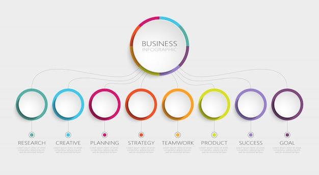 Abstract d infographic template avec les étapes pour réussir