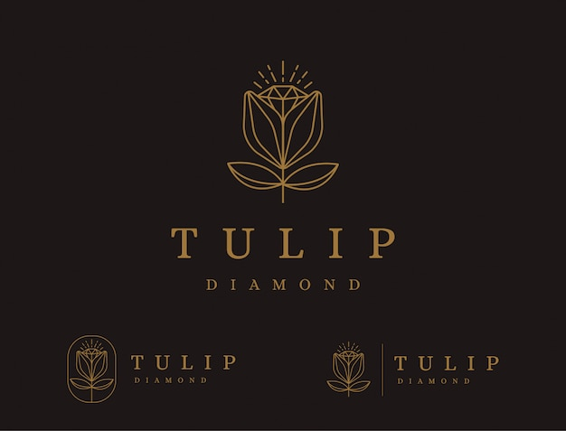Abstract lineart du logo de fleur de tulipe