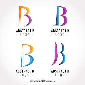 Abstract logo lettre b collection de modèles