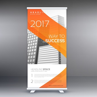 Abstract orange roll up bannière standee vector design