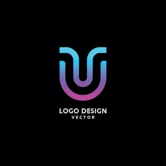 Abstract u lettre logo design vector
