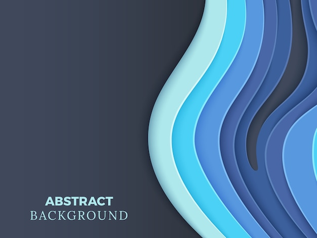 Abstract vector background avec du papier superposé bleu coupe les vagues 3d