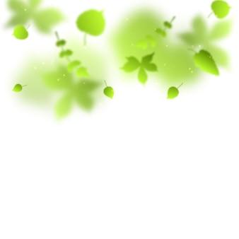 Abstract vector background avec des feuilles floues vertes