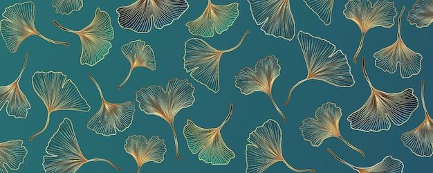 Abstract vector background avec des feuilles de ginkgo bleu et turquoise.