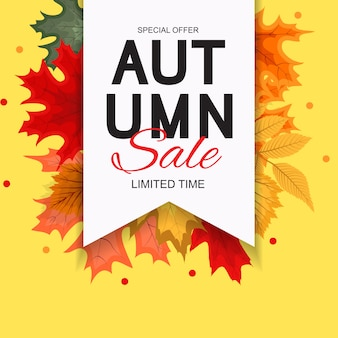 Abstract vector illustration automne vente fond avec la chute des feuilles d'automne