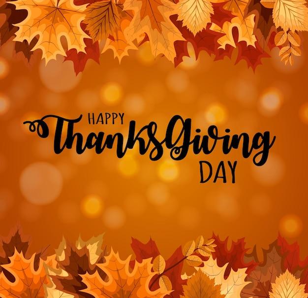 Abstract vector illustration happy thanksgiving day background avec la chute des feuilles d'automne. eps10