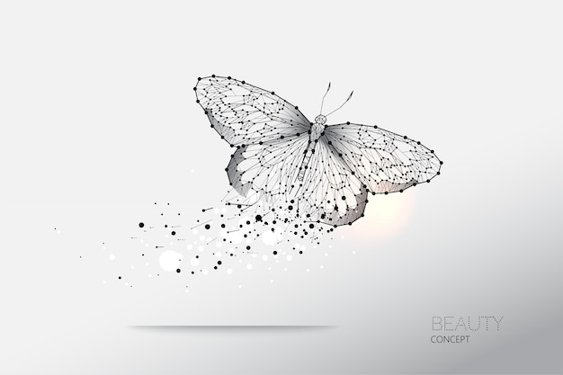 Abstract vector illustration de papillon en mouvement