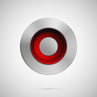Abstract vector illustration polygone bouton métal modèle réaliste fond métallique