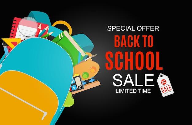 Abstract vector illustration retour à l'arrière-plan de la vente de l'école
