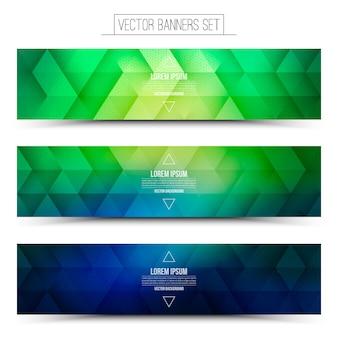 Abstract vector set de bannières de technologie internet numérique. vert et bleu