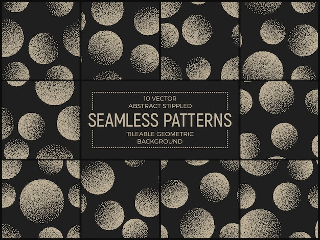 Abstract vector stippled seamless patterns set