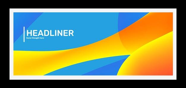 Abstraction d'illustration horizontale bleue et jaune lumineuse créative dans le cadre avec en-tête