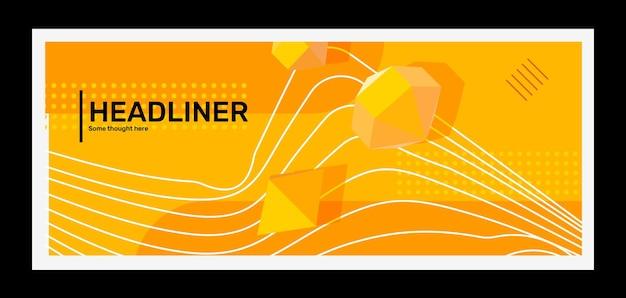 Abstraction d'illustration horizontale jaune vif créatif dans un cadre avec une forme