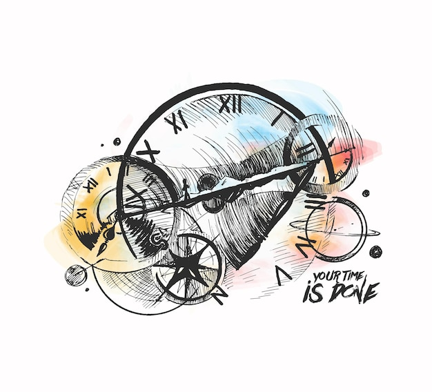 Abstraction d'un mécanisme d'horlogerie une machine à remonter le temps fond de vecteur de croquis dessinés à la main