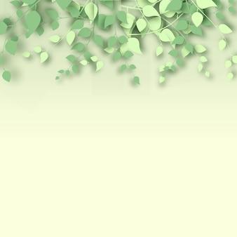 Abstrait 3d branches et feuilles sur fond jaune clair