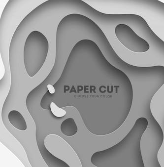 Abstrait 3d avec du papier blanc coupe des formes
