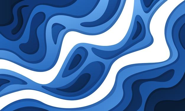 Abstrait 3d avec du papier bleu coupé des vagues. couleurs contrastées